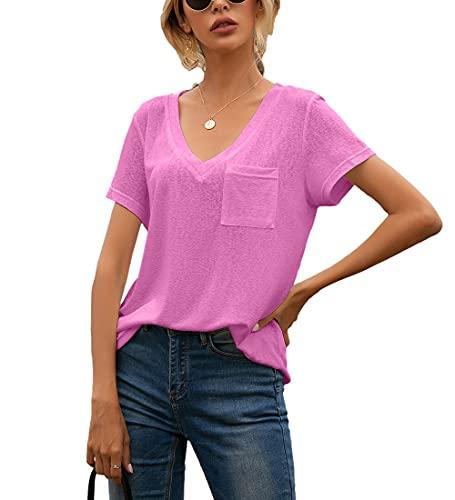 Blusa Mujer Verano Bolsillos con Cuello En V Decoración Mujer Camisa Casual Clásico Temperamento Transpirable Elasticidad Único Agradable A La Piel Simplicidad Mujer Tops F-Rose Red XL