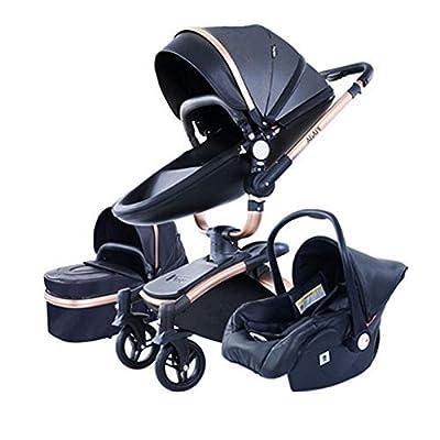 WRJY Baby Stroller 360 Función de rotación, 3 en 1 Cochecito de bebé High View Carro de Cochecito antichoque con Cesta para bebé de Dos vías para recién Nacido y bebé Que viaja (Color: Negro 3 en 1)