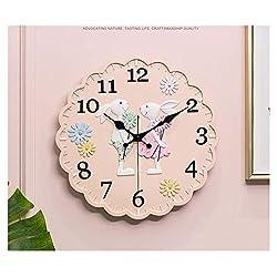 ZHXQ-Sculpture Decoration Couple Rabbit Cartoon Wall Clock, Silent Clock for Living Room Bedroom, Desktop Ornaments, 12 Inches, 32x32cm