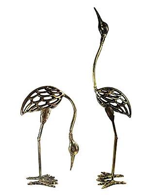 Seraphic Cast Iron Garden Decor Crane Bird Statues, Rustic Bronze, Set of 2