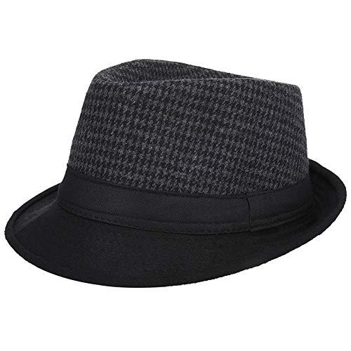AIEOE - Sombrero Cordobés Jazz para Hombre Adulto Gorro de Copa Fedora Disfraz Trilby Vintage Caballeros para Invierno Cálido con ala Ancha de Fiesta Viaje - Negro Cuadros