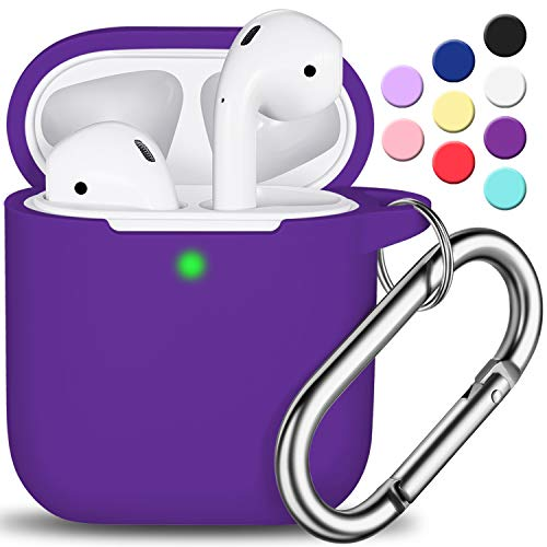 AirPods Case Cover with Keychain, Full Protective Silicone AirPods Accessories Skin Cover for Women Girl with Apple AirPods Wireless Charging Case,Front LED Visible-Purple