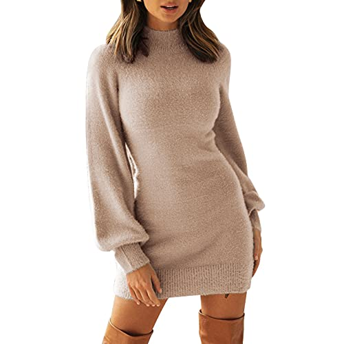 EXLURA Women's Mock Neck Ribbed Long Sleeve Bodycon Pullover Cute Mini Sweater Dress Apricot