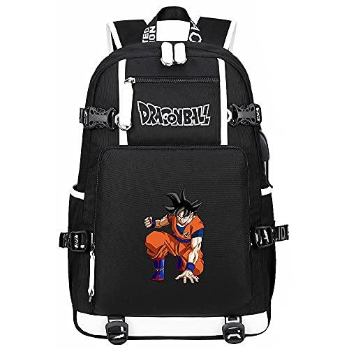 Mochila De Anime Dragon Ball Backpack para Ordenador Portátil Mochila De Viaje Mochilas para Estudiantes Niños Niñas Adolescentes Negro