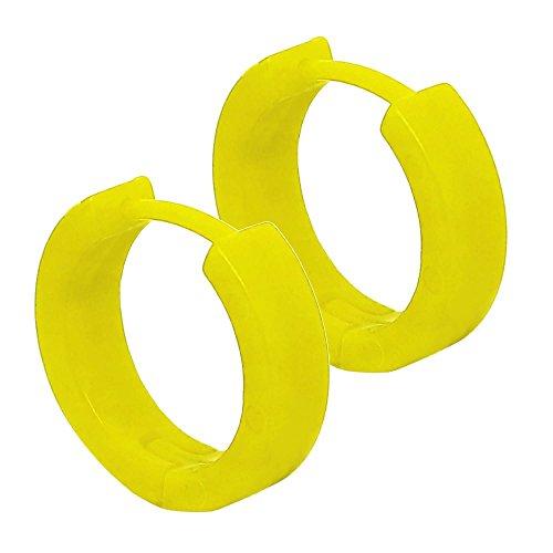 Tumundo® 1 Paar Creolen Creole Klappcreolen   Acryl Kunststoff Leicht   Huggie Ohrringe Damen Ohr Weiß Rosa Rot Grün, Farbe:gelb - 13.5mm x 4mm