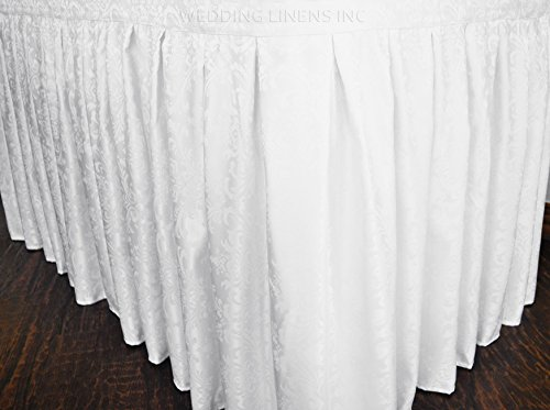 Wedding Linens Inc. Accordion Pleat Damask Jacquard Polyester Table Skirt for Wedding Party Banquet Events (21 ft. x 29-inch, White)