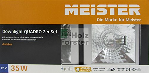 MEISTER Downlight Quadro 12Volt 35Watt, Titan, 2er Set