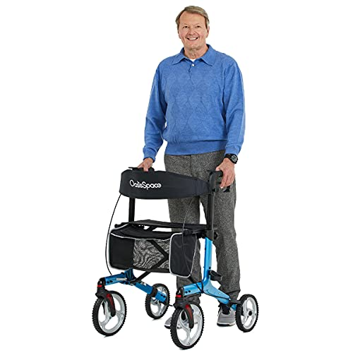 OasisSpace Aluminum Rollator Walker, with 10'' Wheels and Seat Compact Folding Design Lightweight Baking (Blue)