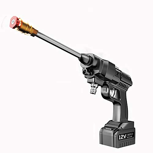 HEWXWX 2-In-1-Hochdruckwasserpistole, Tragbare 200-W-Drahtwaschanlage Mit 5 M Einlassleitung, Stromkabel, Lithiumbatterie FüR Car Home Garden Wash,12V-4400MA