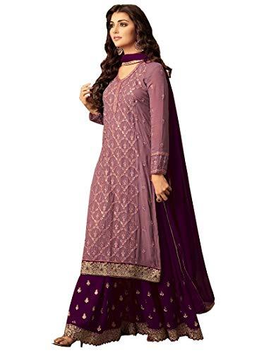Ziya Indian Pakistani Dresses for Women Palazzo Style Embroidered Salwar Kameez Suit 47001 (Light Pink, X-Large)