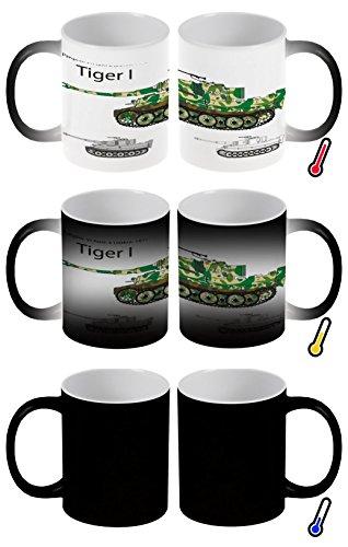 LEotiE SINCE 2004 Zaubertasse Farbwechseltasse Kaffeebecher Tasse Becher Latte Cappuccino Espresso Waffe Panzer Tiger I