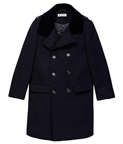 Isaac Mizrahi Boys CT1011 Double Breasted Velvet Collar Wool Blend Peacoat - Navy - 2