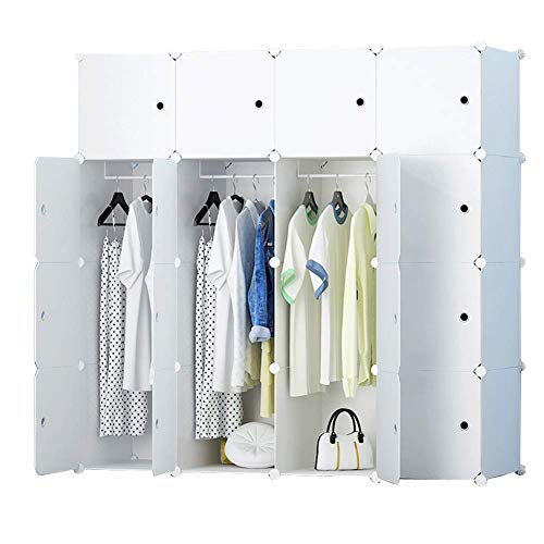 HRYP Armario portátil – para colgar prendas / armarios modulares / ahorro de espacio / organizador de almacenamiento ideal / blanco 147 x 47 x 147 cm