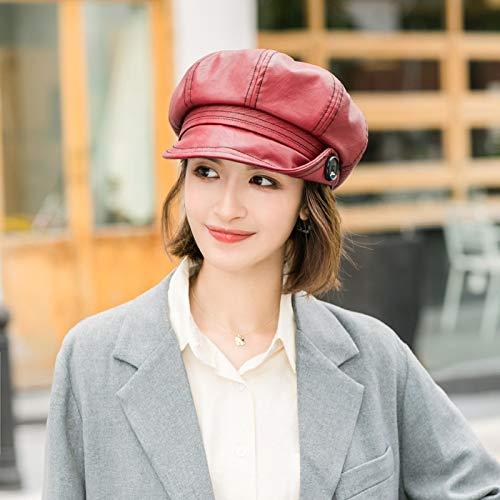 Boinas Botón De Cuero Sombrero Femenino Octogonal Sombrero De Otoño E Invierno Sombrero De Pintor Femenino Sombrero para El Sol Winered