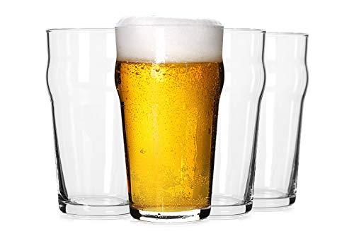 パイントグラス 20オンス 英国ビールグラス クラシッククラフトビールグラス プレミアムビールグラス タンブラー4個セット パブビールグラス ユニークなデザインビールグラス 食器棚に重ねて簡単に積み重ねられます