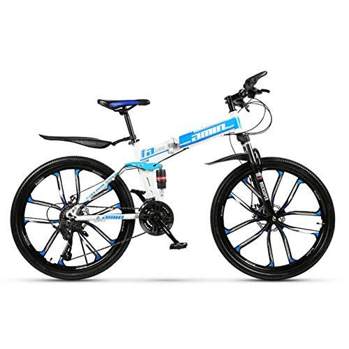 QXue 24 Inches Mountain Bike for Men and Women, High Carbon Steel Dual Suspension Frame Mountain Bike Ten Knife Wheel Folding Outroad Bike,Blue,30 Speed
