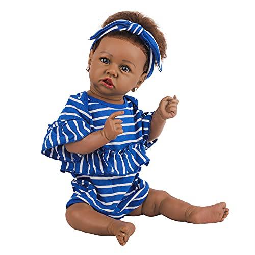 Muñecas Bebé Renacidas Realistas con Muñeca Realista Afroamericana de Cuerpo Suave 22.8 Pulgadas Mejor Juego de Regalo de Cumpleañospara Niñas de 3 Años,C
