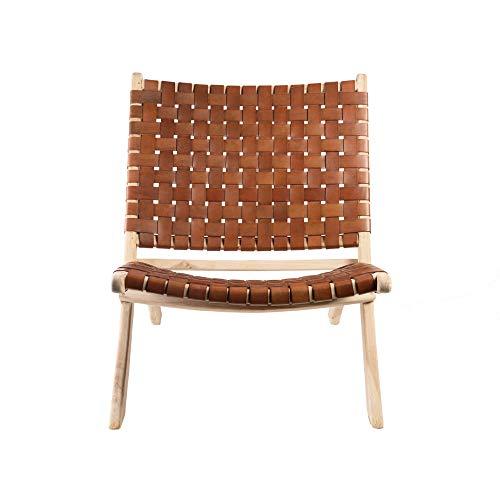 wohnfreuden Klapp-Stuhl 'Selayar' Cognac Brown Teakholz/Leder Sessel Sitzgelegenheit