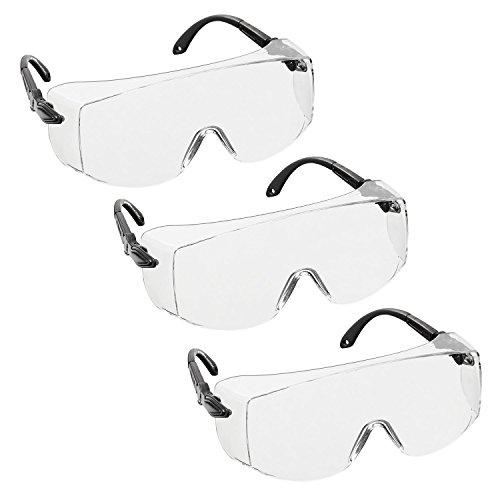 3 x voltX 'OVERSPECS' Sobremontura para Gafas de Seguridad Industrial (Lentes Transparentes) con certificación CE EN166F, ajuste de sien individual, antivaho, resistentes a los arañazos, con protección UV400 / Safety Glasses 🔥
