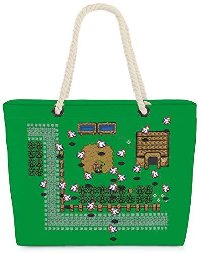 VOID Bolso de Playa XXL Bolsa Shopper Link Retro Juego 58 x 38 x 16cm 23l Beach Bag Game Hyrule Pixel Game, Kissen Farbe:Verde