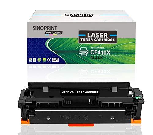 SINOPRINT - Cartucho de tóner compatible para HP 410X CF410X 410A CF410A para impresora Color Laserjet Pro MFP M477fdw M477fdn M477fnw M452dn M377dw M452dw M452nw Impresora 410X 410A (1 negro)