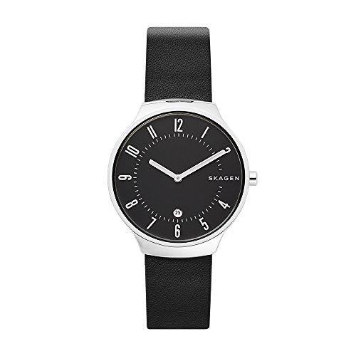 Skagen Herren Analog Quarz Uhr mit Leder Armband SKW6459