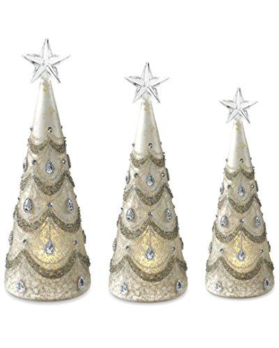 K&K Interiors 53137A Set of 3 Mercury Glass Led Trees W/Silver Jewels (Grad Sizes)