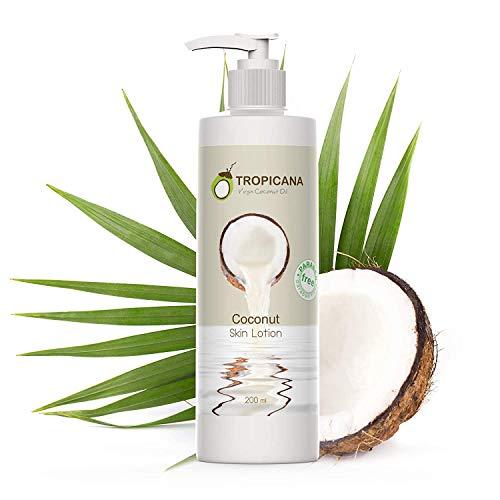 Tropicana Oil Premium Locion Corporal de Coco 200ml | Con Vitamina E, Vitamina B3 y Aceite Coco Crudo Orgánico | Humectante Coco Natural para Hermosa Piel | Crema Corporal Productos Ecologicos Vegan