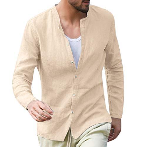 Camicia Uomo, Modaworld Camicie di Lino a Manica Lunga con V Collo Maglietta Tinta Unita Slim Fit Cotone T-Shirt Maglietta Uomo Maglia da Uomo