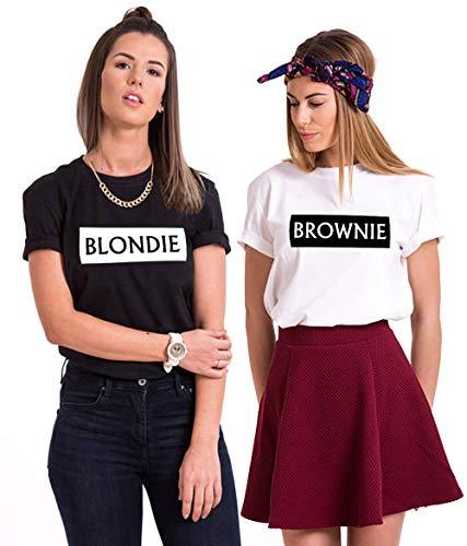 Mejores Amigas Camisetas para 2 Niña Best Friends Camisetas Mujer BFF Sisters Camisetas BFF T-Shirt Blondie Brownie Hermana Camisa Verano Manga Corta BFF Regalos Negro Blanco Gris 2 Piezas
