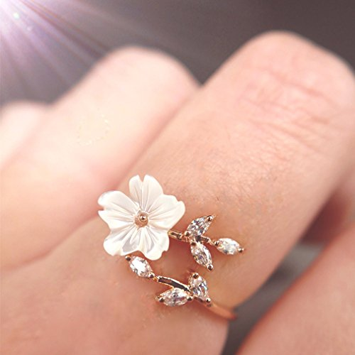 Eleusine 1PC Fashion Elegant Rose Gold Flower Knuckle Ring Resizable Ring Women Girls Gift