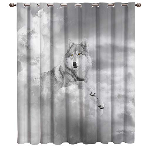 """SODIKA Window Curtains for Bedroom Living Room Dining Grommet Top Window Treatment/Drapes,Wolf 52""""x63"""",One Panel"""