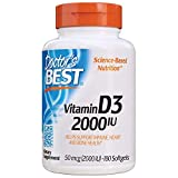 Doctor's Best Vitamin D3 2, 000 IU, Healthy Bones, Teeth, Heart & Immune Support, Non-GMO, Gluten-Free, Soy Free, 180 Count (Pack of 1) (DRB-00210)