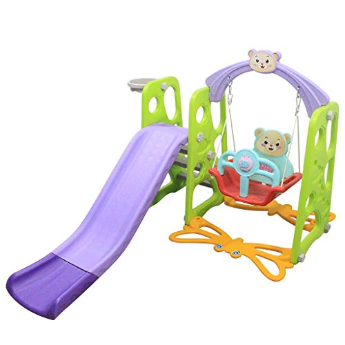 4-in-1 Toddler Climber and Swing Set with Removable Basketball Hoop, Long Slide, Easy Climb Ladder, Children Play Area, Slide Swing, for Outdoor and Indoor, Garden Playground (A)