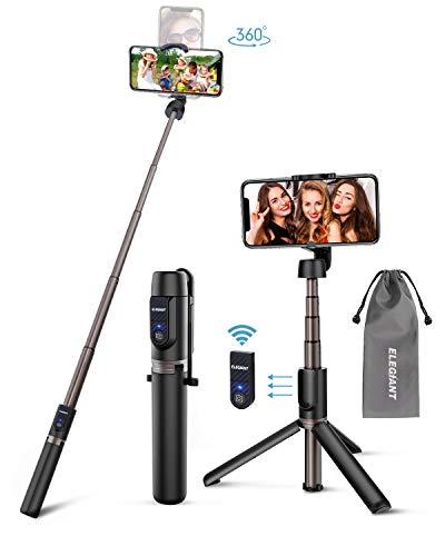 ELEGIANT Palo Selfie Trípode, 3 en 1 Bluetooth Stick Móvil Deportivo Extensible de Control Remoto para Viaje, Monopod con Obturador Rotación de Aleación de Aluminio, Compatible con Android iOS