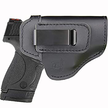 IWB Leather Holster for Inside Waistband Concealed Carry Fits S&W M&P Shield-Glock19 26 29 30 32 43-Beretta Px4-RUGER EC9s-SIG-HK-Taurus-XDS or Similar Sized Handguns