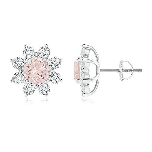 Runde Morganit und Diamant Blumen Ohrstecker in Platin (6Morganit)