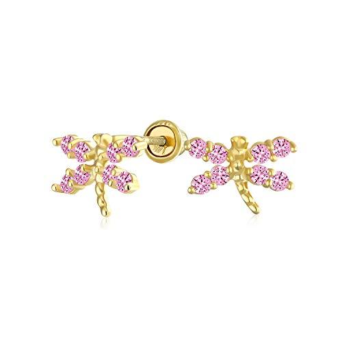 Minimalistische Kleine Zirkonia Rosa Simuliert Rosa Turmalin Cz Libelle Schmetterling Ohrstecker Echte 14K Gelbgold Schraube Zurück