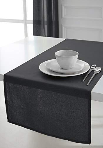 Today - 257551 - Chemin de table Coton - 50 x 150 cm - Gris (Canon de fusil/Gris Anthracite)