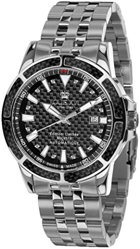LOUIS XVI Herren-Armbanduhr Majesté Stahlband Silber Schwarz Karbon echte Diamanten Automatik Analog Edelstahl 892