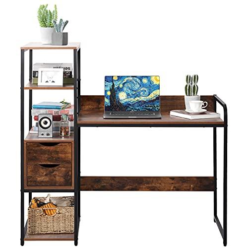 QWEPOI Escritorio con estante, 2 cajones, mesa de trabajo, mesa de oficina de estilo industrial, gran superficie de tablero DM y marco de metal negro, hogar, oficina, marrón, 88 x 48 x 122 cm