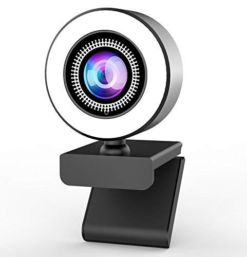 OVIFM 2K Webcam mit Mikrofon und Ringlicht Full HD Web Cam für PC, Laptop,Mac, USB Webcam Streaming mit Autofokus und Weitwinkel für YouTube, Skype Videoanrufe, Lernen, Videokonferenz, Spielen