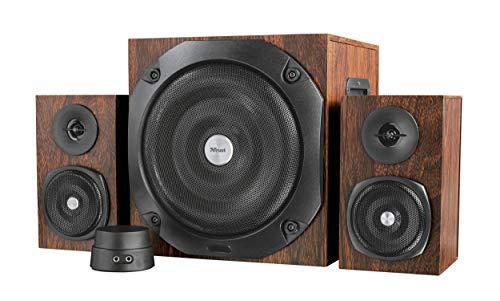 Trust Vigor 2.1 Holz Lautsprechersystem mit Subwoofer (für Smartphone/PC- Tablet, 100 Watt) braun