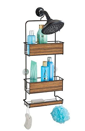 mDesign Estantería ducha sin taladro – Accesorios ducha – Fácil de colgar – Para sus productos de higiene como champú, acondicionador, jabón, etc. - Bronce/madera rosada