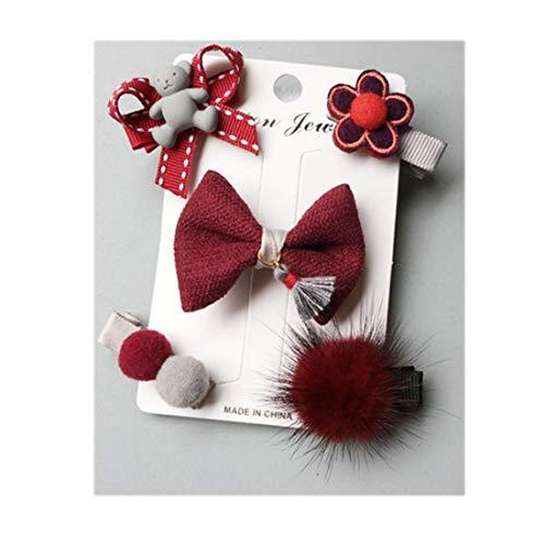 NOVAGO Lot de Barrettes pinces à cheveux fantaisie décoratives pour séance photo réussie de votre enfant bébé ou jeune fille (5 Pcs, Rouge)