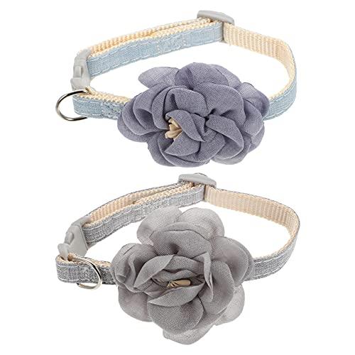POPETPOP 2 Piezas Collares de Flores para Perros Disfraz de Pajaritas para Mascotas con Flores de Algodón Collares Ajustables para Perros para Gatos Gatitos Perro Pequeño Azul