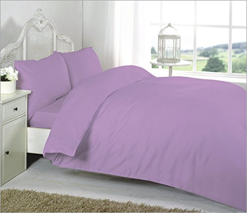 EGYPTO Premium Quality Egyptian Cotton Plain Duvet Cover Comforter with Pillow Case Set for Bedding (Double, Lilac)
