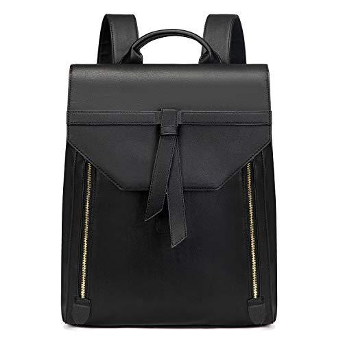 Estarer Women PU Leather Laptop Backpack 15.6' for Work Large Black Rucksack School Bag for Girls