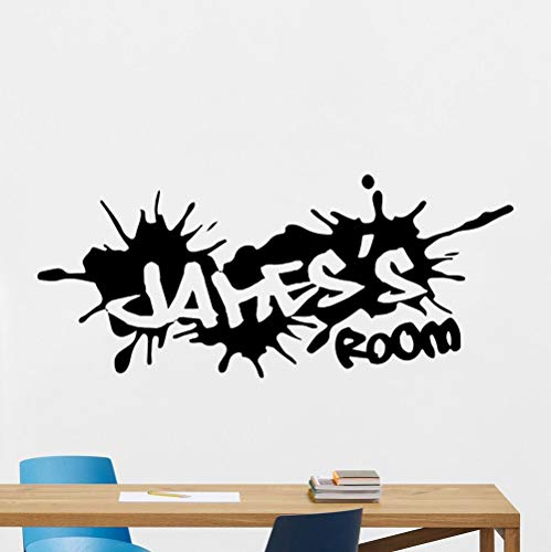 jtxqe Custom Name Graffiti Street Culture Boy Room Name Graffiti Quotes Wall Art Stickers Self-Adhesive Wall Stickers For Baby And Child Room Decoration 56X24Cm