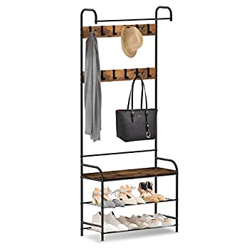 alvorog Coat Rack Shoe Bench Vintage 3-in-1 Hall Tree Shoe Rack for Entryway with 3-Tier Storage Shelf and 12 Hooks Removable Industrial Accent Furniture with Steel Frame - 31in x 12.6in x 72.8in